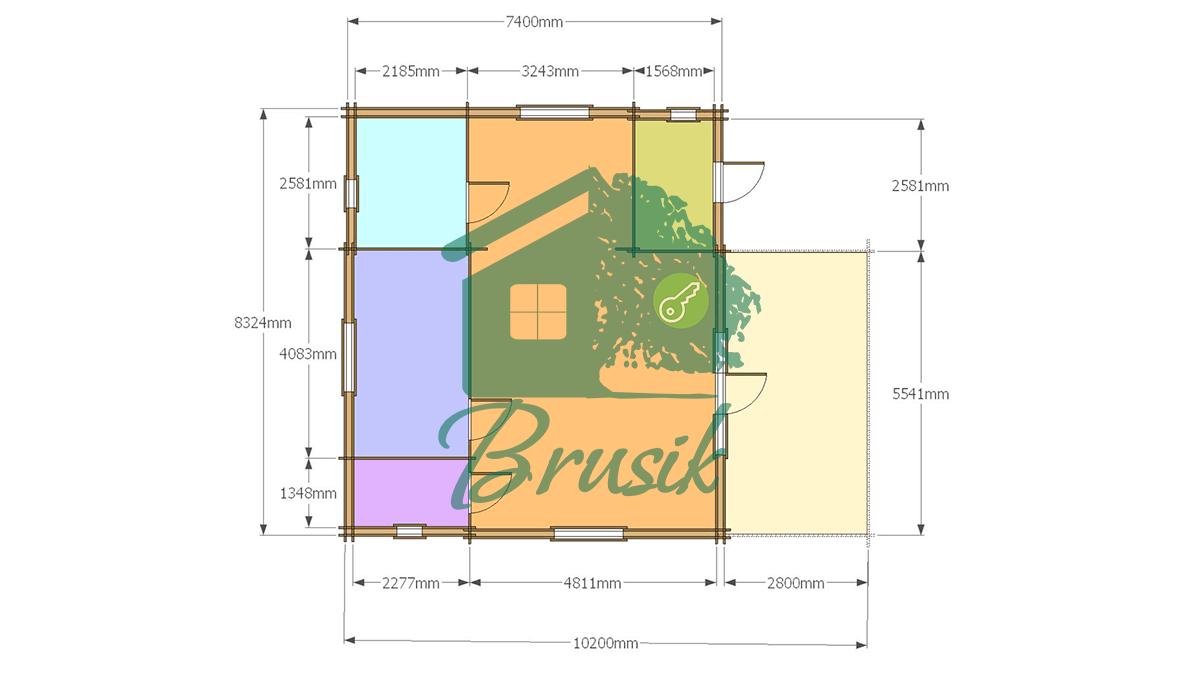 План дома из бруса с террасой